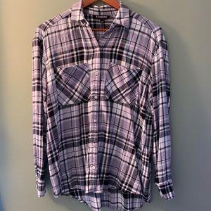 Express plaid button down long sleeved shirt